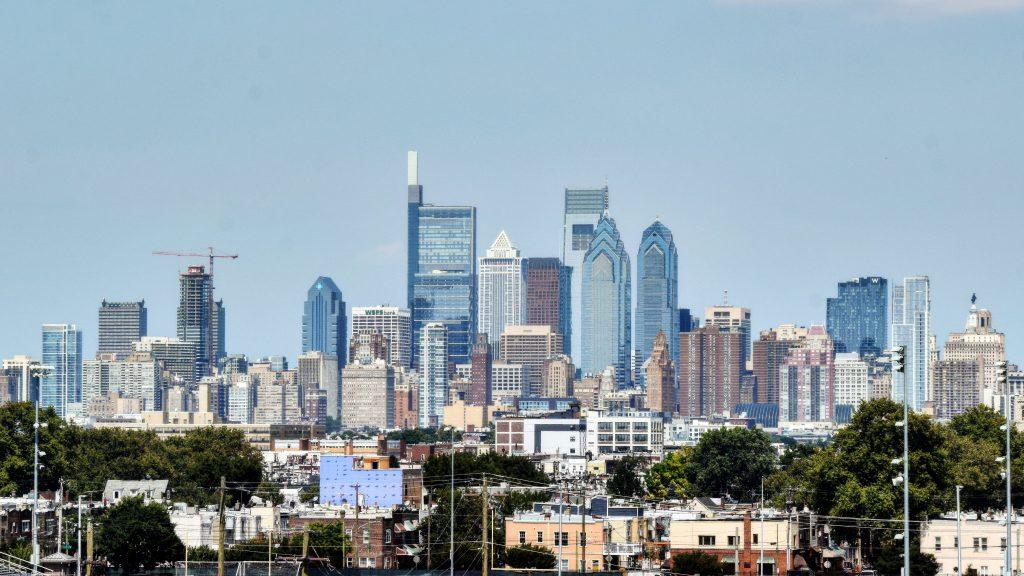 The Laurel Rittenhouse in the skyline from South Philadelphia. Photo by Thomas Koloski