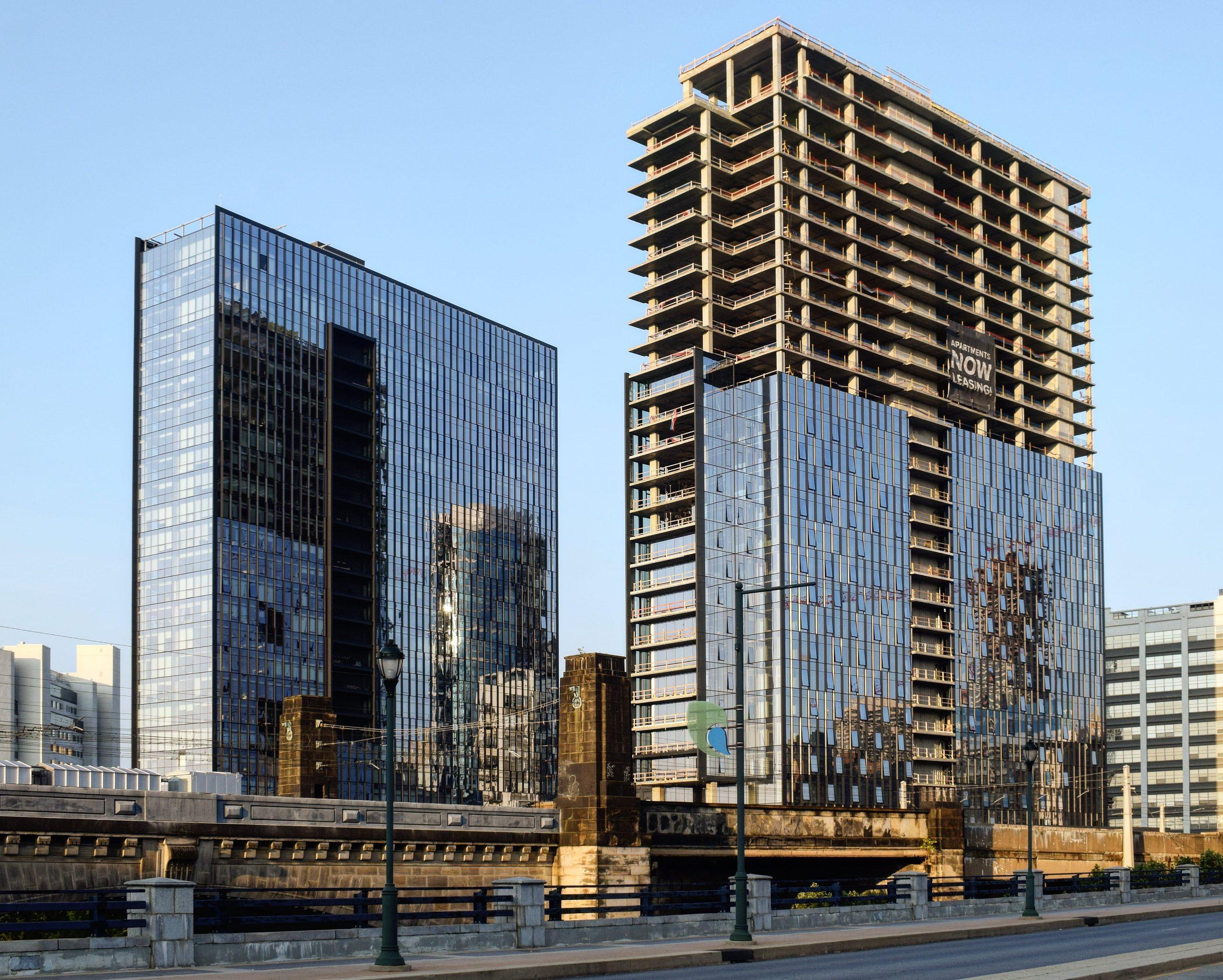 Riverwalk towers from John F. Kennedy Boulevard. Photo by Thomas Koloski