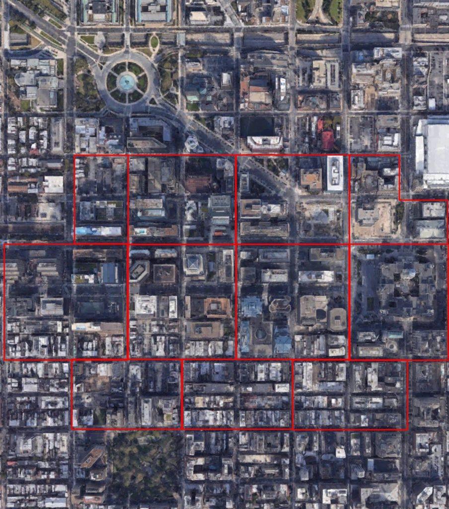 Philadelphia massing blocks planning. Original image by Google Maps, edit by Thomas Koloski