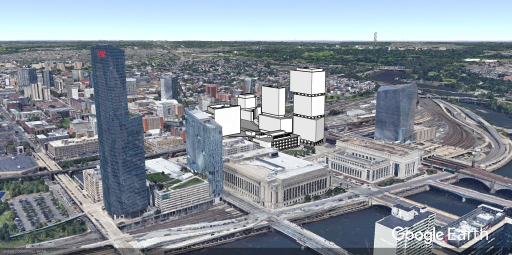 Ultra Labs at University City aerial. Image from Google Earth, models and edit by Thomas Koloski