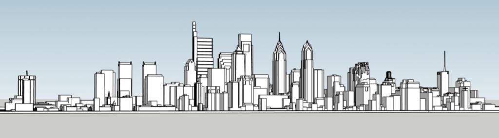 Philadelphia 2019 massing looking northeast. Image and model by Thomas Koloski