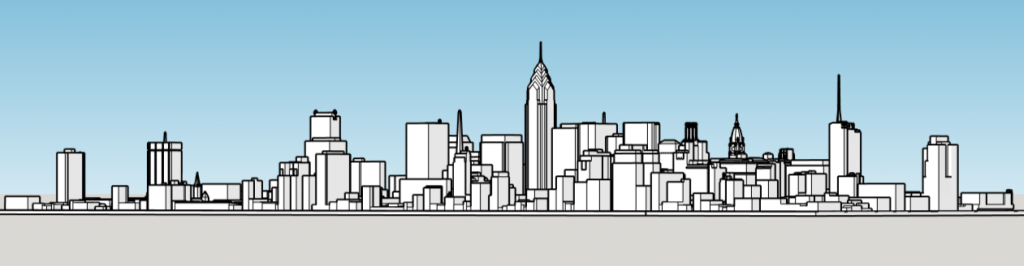 One Liberty Place in the skyline. Image and models by Thomas Koloski