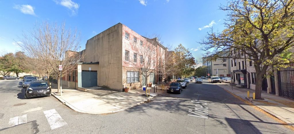211 Vine Street before demolition. Looking northeast. Credit: Google Maps