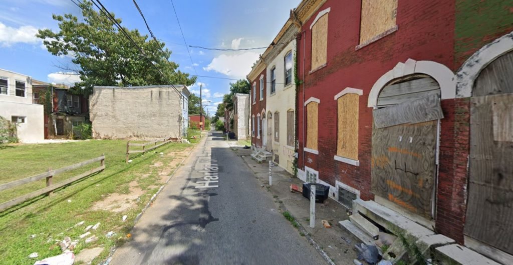Harlan Street, with 2422, 2424, and 2426 Harlan Street on the right. Looking east. Credit: Google Maps