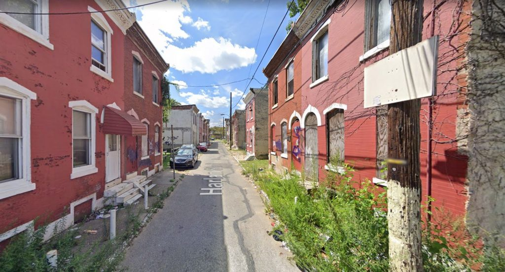 Harlan Street, with 2422, 2424, and 2426 Harlan Street on the left. Looking west. Credit: Google Maps