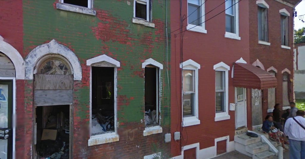 2422, 2424, and 2426 Harlan Street (left to right). September 2009. Looking southwest. Credit: Google Maps